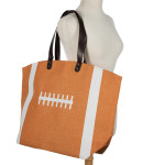 Wholesale football tote bag tailgating monogramming bag snap closure lined inter