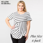 Wholesale pLUS striped short sleeve tunic top Pack breakdown pcs pack XL Composi