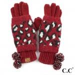 Wholesale c C CG Leopard print jacquard knit glove knit pom Polyester One fits m